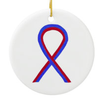 Red and Blue Awareness Ribbon Custom Ornaments