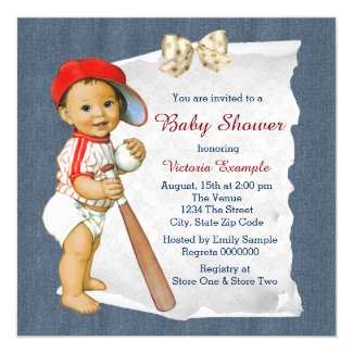 Red and Blue Baby Shower Card