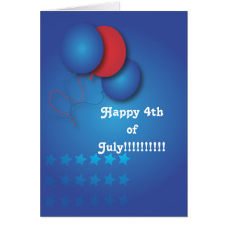 Red and Blue Balloons 4th July Card