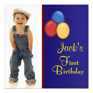 Red and Blue Balloons Boys Birthday Party Card