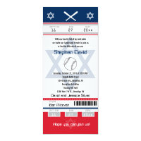 Red and Blue Bar Mitzvah Baseball Ticket Card