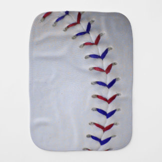 Red and Blue Baseball / Softball Stitches Baby Burp Cloth