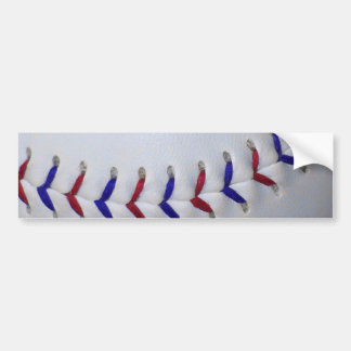 Red and Blue Baseball / Softball Stitches Car Bumper Sticker