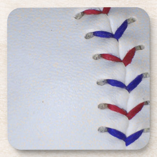 Red and Blue Baseball / Softball Stitches Drink Coaster
