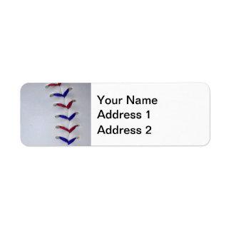 Red and Blue Baseball / Softball Stitches Label