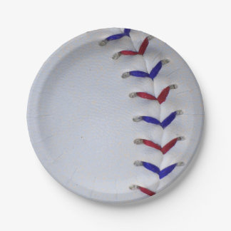 Red and Blue Baseball / Softball Stitches Paper Plate