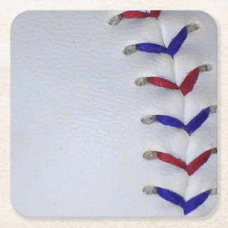 Red and Blue Baseball / Softball Stitches Square Paper Coaster