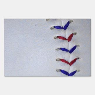 Red and Blue Baseball / Softball Stitches Yard Sign