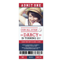 Red and Blue Baseball Ticket Birthday Invites