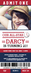 Baseball party invitations zazzle red and blue baseball ticket birthday invites filmwisefo