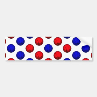 Red and Blue Basketball Pattern Bumper Sticker