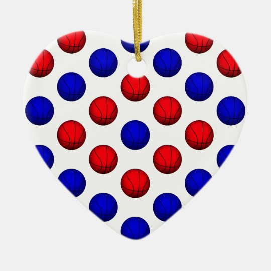 Red and Blue Basketball Pattern Ceramic Ornament