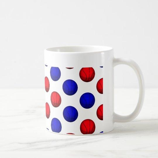 Red and Blue Basketball Pattern Coffee Mug