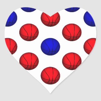 Red and Blue Basketball Pattern Heart Sticker