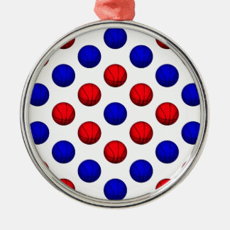 Red and Blue Basketball Pattern Christmas Tree Ornaments