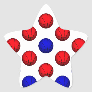 Red and Blue Basketball Pattern Star Sticker