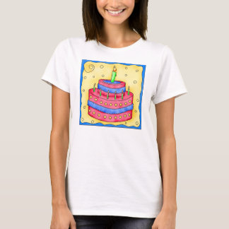 Red and Blue Birthday Cake Tee Shirt