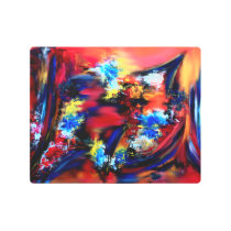 Red and Blue Brush Strokes Metal Print