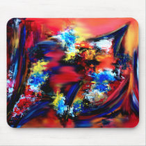 Red and Blue Brush Strokes Mouse Pad
