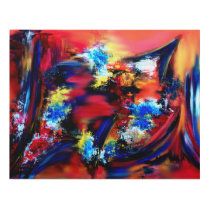 Red and Blue Brush Strokes Panel Wall Art