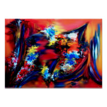 Red and Blue Brush Strokes Poster
