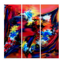 Red and Blue Brush Strokes Triptych
