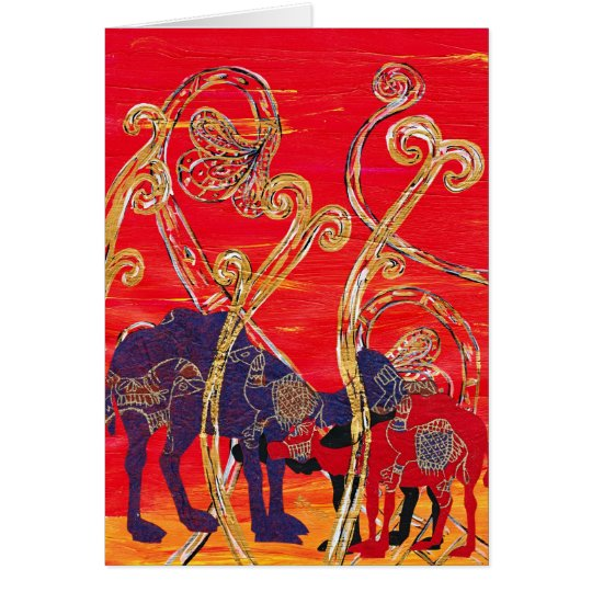 Red and Blue Camels Card