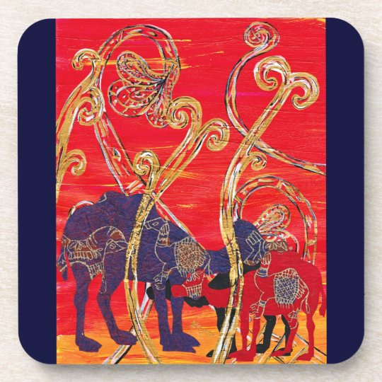 Red and Blue Camels Coaster Set