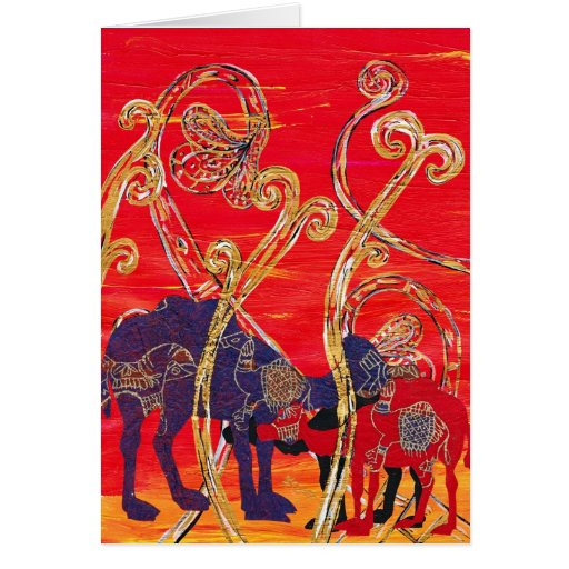 Red and Blue Camels Greeting Card