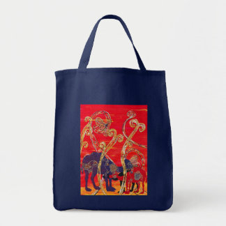 Red and Blue Camels Grocery Bag