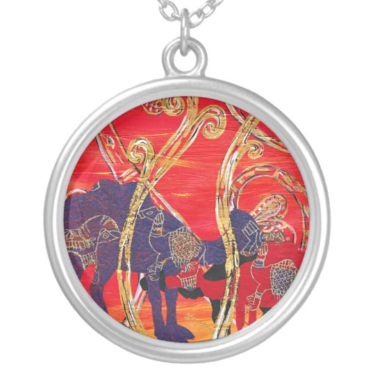 Red and Blue Camels Necklace