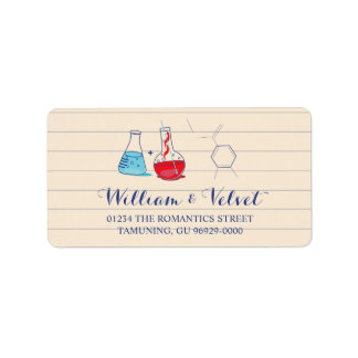 Red and Blue Chemistry Wedding Address Labels