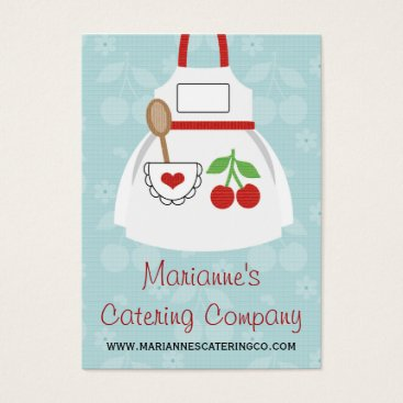 Professional Business Red and Blue Cherry Heart Apron Business Cards