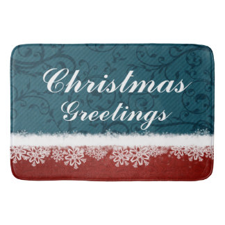 Red and Blue Christmas Greetings Snowflakes Bath Mats
