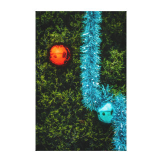Red and Blue Christmas Ornaments Canvas Print