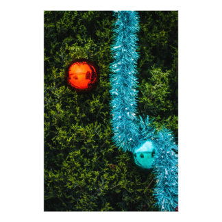 Red and Blue Christmas Ornaments Photo Art