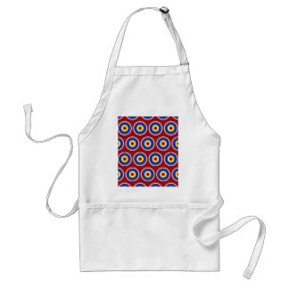 Red and Blue Concentric Circles Bullseye Pattern Adult Apron