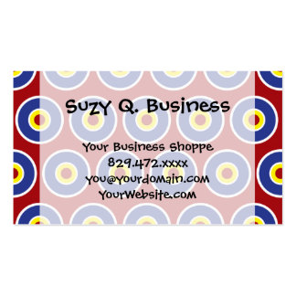 Red and Blue Concentric Circles Bullseye Pattern Double-Sided Standard Business Cards (Pack Of 100)