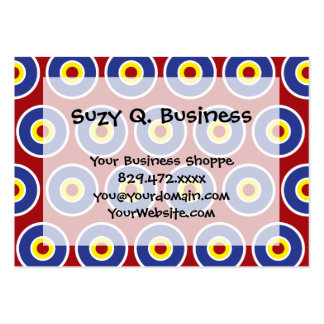 Red and Blue Concentric Circles Bullseye Pattern Large Business Cards (Pack Of 100)