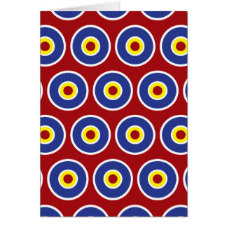 Red and Blue Concentric Circles Bullseye Pattern Card