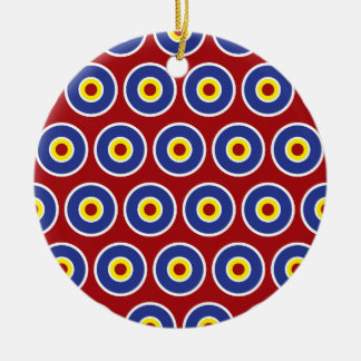 Red and Blue Concentric Circles Bullseye Pattern Ceramic Ornament