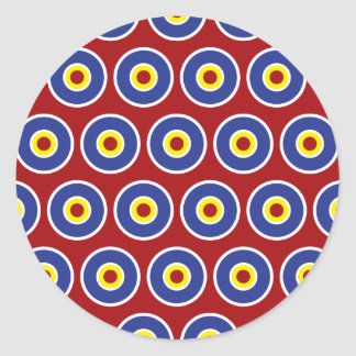 Red and Blue Concentric Circles Bullseye Pattern Classic Round Sticker