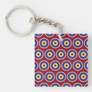 Red and Blue Concentric Circles Bullseye Pattern Double-Sided Square Acrylic Keychain