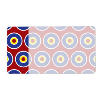 Red and Blue Concentric Circles Bullseye Pattern Label