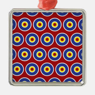 Red and Blue Concentric Circles Bullseye Pattern Metal Ornament