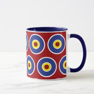 Red and Blue Concentric Circles Bullseye Pattern Mug