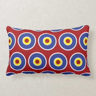 Red and Blue Concentric Circles Bullseye Pattern Throw Pillows