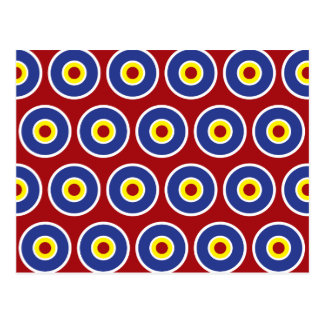 Red and Blue Concentric Circles Bullseye Pattern Postcard