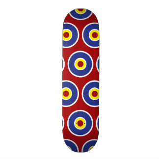 Red and Blue Concentric Circles Bullseye Pattern Custom Skate Board