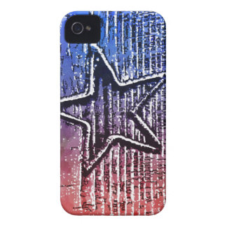 Red and Blue Cool Rustic Star Pop Art Print Case-Mate iPhone 4 Cases